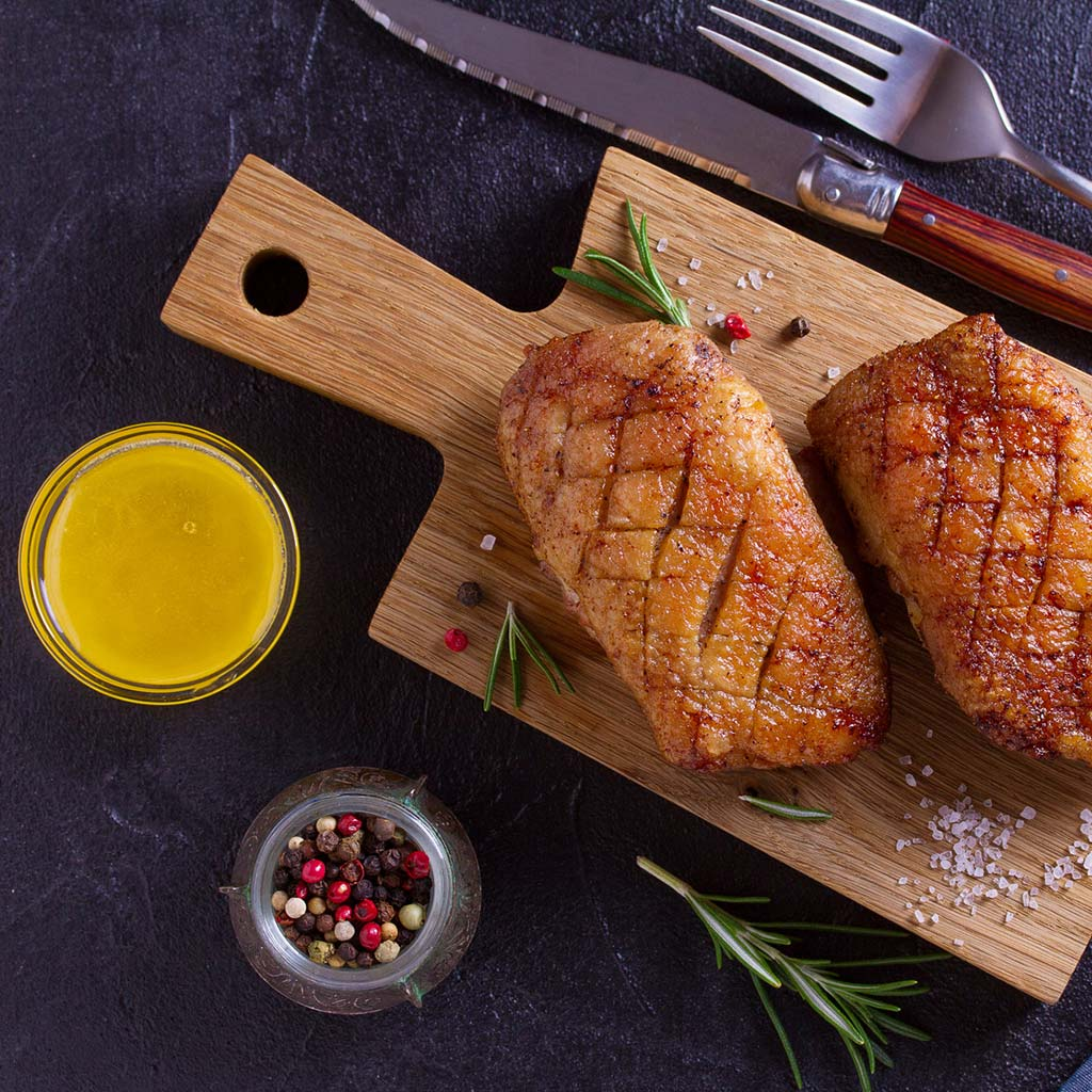 Duck breast with honey-glaze